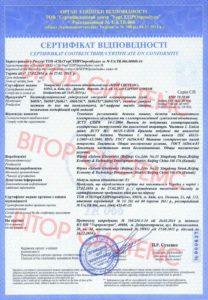 Сертификат соответствия Soloon на электроприводы